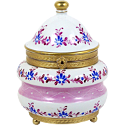 Hand Painted Trinket Box Brass Ormolu Greek Key Trim Blue Flowers w/ Fuchsia