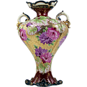 Hand Painted Nippon Vase Pink & Purple Floral Gold Beads Footed Design Corset Shape
