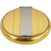 Art Deco 24 Kt Gold Plated Powder Compact with Mirror Silver Tone Stripe 2 1/4""