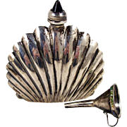 Sterling Silver Perfume Bottle Amethyst Glass Finial Abalone Banded Funnel w/ Soft Pouch