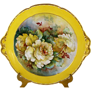 Wm Guerin Limoges Cake Plate Hand Painted Yellow Roses Signed M Blanche Lenzi Fine Art Cake Tray
