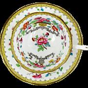 Aynsley Bone China Tea Cup Oriental Flowers & Vases Yellow Border Brown Trim 6oz Hand Decorated