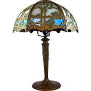 "Ornate Scenic Slag Glass Table Lamp Cottage on a Lake 21 1/2"" Blue & Cream 1920's"