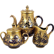 Jeweled Teapot Set Cobalt Glass Heavy Raised Gold Floral Cream Sugar 3 Pce Set