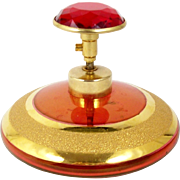 Gold Encrusted Red Glass Perfume Scent Bottle with Faceted Jewel Pump Atomizer