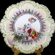 Poppy & Daisy Flowers Cake Plate Tray Deeply Scalloped Ruffled Green Rim Gold Trim
