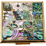 Elgin American Abalone Decorated Powder Compact Interior Mirror 16 Tile Lid