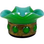 Cased Art Glass Bowl Copper Banded Blue Cased in Green Blown Out 1950's Mid Century Modern
