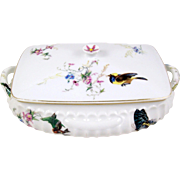 Antique Haviland Covered Dish Hand Painted Birds Butterflies Flowers 1876+