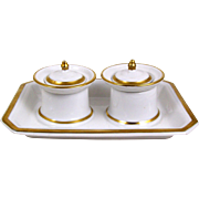Antique Porcelain Inkwell Pounce Pot Ink Stand Gold Band & White Desk Set w/ Lids