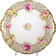 Porcelain Cake Plate Pink Roses Beyer & Bock 1905-31 Double Handle Tray