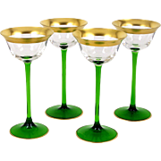 Set of 4 Wine Cordial Liqueur Glasses Green Stem Wide Gold Band 2 Ounce Size