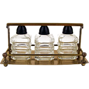Miniature Perfume Scent Bottles Brass Fitted Tantalus Style Holder Beehive Caps