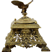 "Antique Cast Brass Inkwell Eagle Finial Victorian Style English 8"" Square Base 1911"