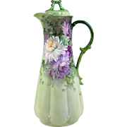 GDA Limoges Chocolate Pot Purple Spider Mums on Green Gold Spout Bow Finial