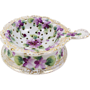 Hand Painted Porcelain Tea Strainer with Drip Bowl Violets Decorative Gold Trim
