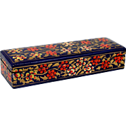 "Hand Painted Lacquer Box Orange & White Flowers on Blue Gold Leaves 8"" x 2 1/2"" Oblong"