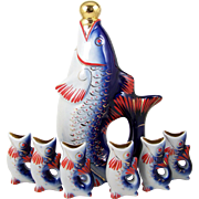Russian Porcelain Fish Decanter w/ 6 Fish Shot Glasses Bar Accessory