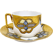 Bone China Tea Cup Heavy Gold Hand Painted w/ Blue Moriage Molded Shape Dated 1902
