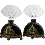 Czech Glass Perfume Bottle Pair, Black Glass w/ Enameled Applied Filigree Decoration Ball Feet Ormolu Trim