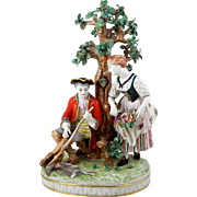 """Capodimonte Style Hand Painted Figurine Group Hunter & Lady Near Tree 13 1/2"""""""