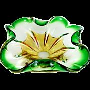 "Mid Century Venetian Style Art Glass Bowl Square Shape Folded Rim Amber & Green 8 1/2"""