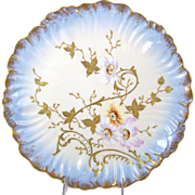 Antique Limoges Charger Plate Hand Painted Flowers w/ Gilt Enamel Klingenberg & Dwenger Wall Plaque 1900-1905 Art Nouveau Design