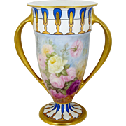 "Lenox Belleek Vase Hand Painted Roses Artist Signed 12"" Footed Trophy Style Lenox Second"