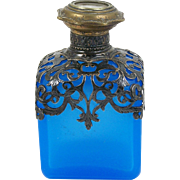 Antique French Blue Opaline Glass Perfume Scent Bottle Ormolu Mount Hinged Lid