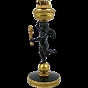 "Bronze Desk Top Cigarette Lighter 9"" Cherub Angel Gilt Ormolu Base Evans USA"