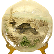 """Choisy Le Roi Rabbit Plate 8 1/2"""" Antique French Majolica for Higgins & Seiter"""