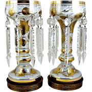 """Cased Glass Mantle Luster Pair Electric Lamps Gilt Enamel Flowers Hollywood Regency Style 13 1/2"""" Table Lamps"""