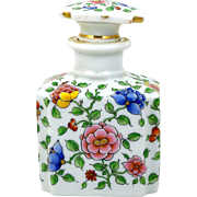 Porcelain Perfume Scent Bottle Hand Painted Asian Style Flowers Large Size