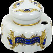 Limoges Porcelain Single Inkwell with Built In Pen Holder Porcelain Insert & Cap