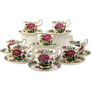 Antique Aynsley Bone China Demitasse Tea Cups Set of 8 Pink Flowers & Multi Color Bird 1891-1905