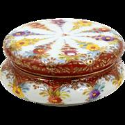 Floral Powder Jar Trinket Box Hand Painted Flowers on Porcelain Raised Enamel Accents