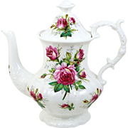 Vintage Hammersley Teapot Grandmother's Rose Flower Finial Footed & Embossed