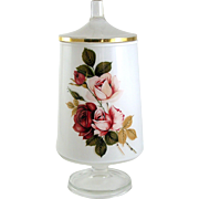 Mid Century Cased Glass Apothecary Jar with Lid Pink & Red Roses Vintage Vanity Jar