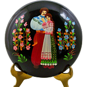 Hand Painted Lacquer Box Round Russian Style Folk Art Courting Couple 6 3/4""