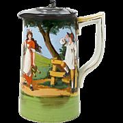 Porcelain Milk Pitcher 26oz Jug with Pewter Lid Milkmaid & Cow Farm Life Scene