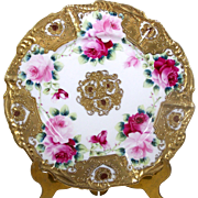 Gold Encrusted Hand Painted Plate Pink Roses Heart Border Raised Gold Accents