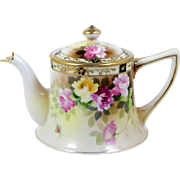 Antique Personal Teapot Nippon Individual Hand Painted Roses Gold Bead Trim