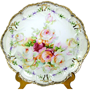 German Plate Double Handle Peach Pink White Roses Scalloped Gold Trim