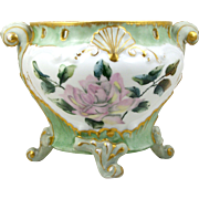 Footed Jardiniere Hand Painted Pink Roses Brushed Gold Trim Pierced Rim
