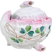 Shell Form Trinket Box Shell Feet Finial Porcelain Pink White Blue Green Clover