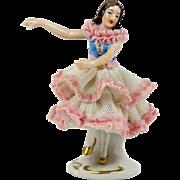 """Dresden Lace Ballerina Figurine Rittirsch 1950-74 Dancer Pink and Blue 4 1/4"""""""