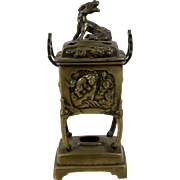 Brass Bronze Incense Burner Censer Foo Dog Dragon Pot Footed Beasts & Floral Decoration