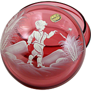 Cranberry Glass Vanity Jar Trinket Box Hand Painted Boy w/ Bird 5 1/2""