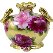Hand Painted Gilt Vase Pink & Red Roses on Gold Double Handle with Rings