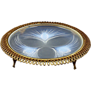 Sabino Opalescent Dish Footed Bronze Dore Serpentine Mount Circa 1920's